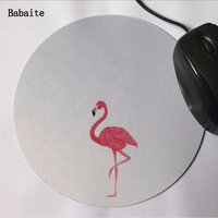 Babaite Hot Cute Birds 20*20cm or 22*22 cm Mouse Pad Speed Control mat Pink and Black Flamingo Round mouse pad