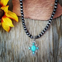 Natural Stone Turquoise Aztec Necklace