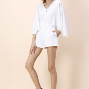 Show Your Charm White Playsuit with Cape Sleeves - Retro, Indie and Unique Fashion