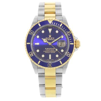 Rolex Submariner 16613 Blue On Blue Steel & 18K Yellow Gold Automatic Mens Watch