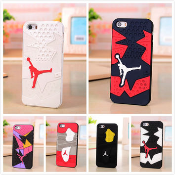 3D Air Jordan sneakers 4 6 7 Sole PVC Rubber Phone Case For iPhone 5 5s 6 6plus 6s plus Silicon Jumpman 23 AJ Sport Case Cover