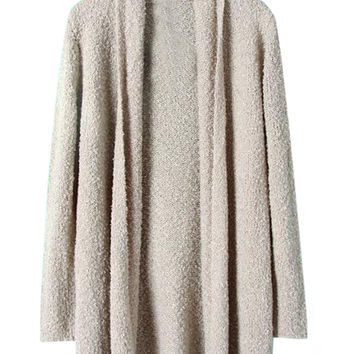 Beige Textured Knit Fall Fashion Cardigan