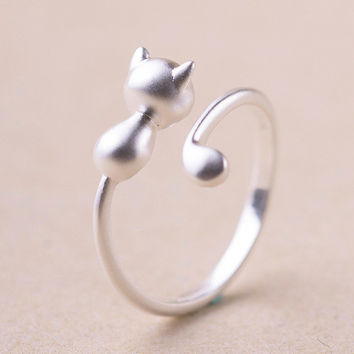 2016 925 Sterling Silver Cat Rings For Women Jewelry Beautiful Finger Open Rings For Party Birthday Gift