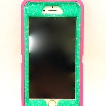 iPhone 6 Plus OtterBox Defender Series Case Glitter Cute Sparkly Bling Defender Series Custom Case  pink / wintermint