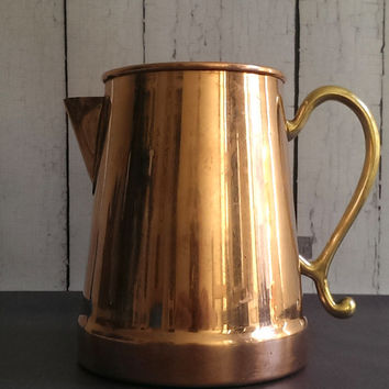 Antique Copper Pitcher with Brass Handle/ Antique Copper Coffee Pot/ Moscow Mule Pitcher
