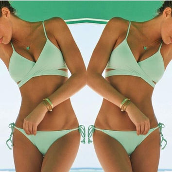 Summer 2015 Women Sexy 2 Piece Bikini Green Swimsuit = 1956379268