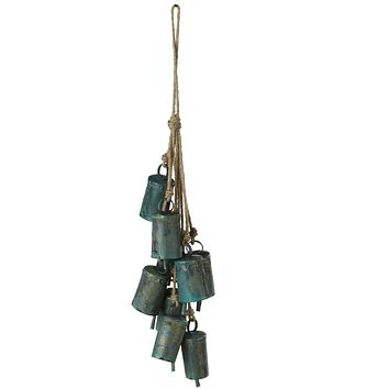 Green Patina Bell Cluster Wind Chime - 15-in