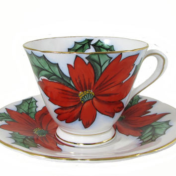 Tuscan Fine Bone China Holiday Poinsettia Teacup And Saucer Cup Christmas Royal Tuscan