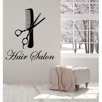 Vinyl Wall Decal Scissors Comb Beauty Hair Salon Hairstyle Stickers Mural (g1207)