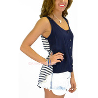 St. Trope Navy Striped Tank