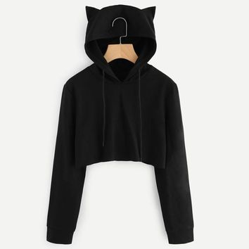 Womens Cat Ear Cute Sweatshirts Hoodie Crop Tops 2018 New Solid Long Sleeve Cropped Sweatshirt Hooded Pullover Tops 2018 WS&&40