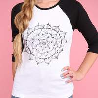 Faded Mandala Graphic Baseball Tee