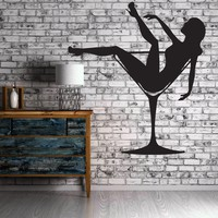 Sexy Naked Girl Woman In Glass With Martini  Wall Sticker Vinyl Decal (z1122)