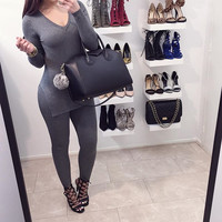 Gray Knitted V-Neck Top and Pants Set