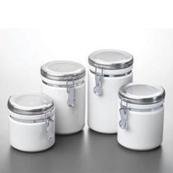 Canister Set White Ceramic 4pc