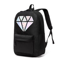 Women  Backpack School Bags Holographic Silver