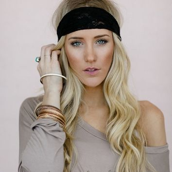 Black Lace + Chain Headband