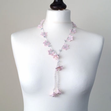 Powder Pink  Crochet Necklace Beaded Lariat Necklace Crochet Jewelry Pearls and Crystal Beads, Beadwork, ReddApple, Fast Delivery