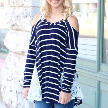Stripe to my Lace Cold Shoulder Tunic {Navy}