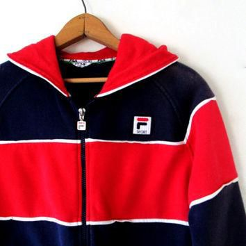 Vintage 1990s FILA Sports Zip Up Hooded Sweatshirt Sz M