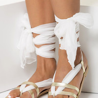"""Bridal Flat sandals handmade of leather and silk, Gold wedding sandals """"Nephele"""" NEW SS17 - Free standard shipping"""