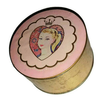 Vintage FAIRY PRINCESS Powder Box by Coty UNUSED 1950s Rare Pink Vanity 50s Bath & Beauty Jewelry Box Girly Decor Wedding Bridesmaid Gift