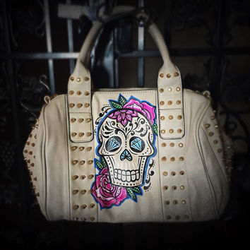 Custom sugar skull purse - hand painted
