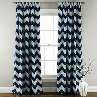 Chevron Blackout Navy Window Curtain (Pair)