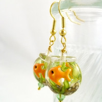 Fishbowl Lampwork Glass Earrings - Goldtone