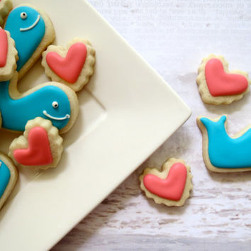 Whale and Heart Cookies - Mini (2 Dozen)