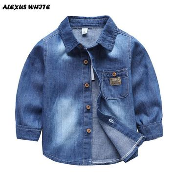 2018 Boy Girl Cotton Denim Tops Jacket Coat Brand Cardigan Wash Blue Jean Children Clothing Toddler Baby Kids Pocket Bebe 1-7Y