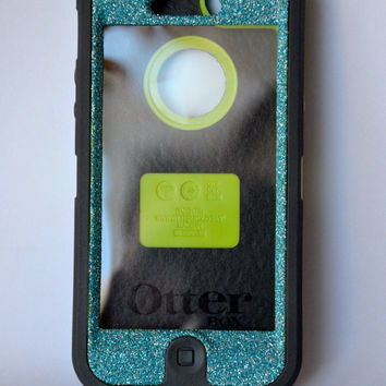 Otterbox Case iPhone 5 Glitter Cute Sparkly Bling Defender Series Custom Case Blue Topaz/ Black