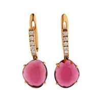 Earrings Double Rose Red Gold, Rhodolite & Brilliants | RenéSim