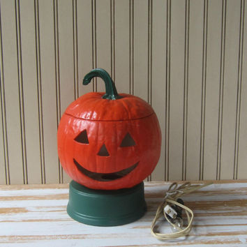 Lighted Pumpkin Jack o Lantern Vintage 60s Halloween Ceramic Spooky Pumpkin with Working Light