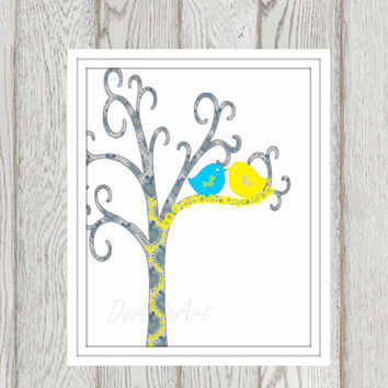 Nursery print Gift idea Wedding print Yellow Grey turquoise bird printable Custom text Anniversary gift Love birds Little girl bedroom decor