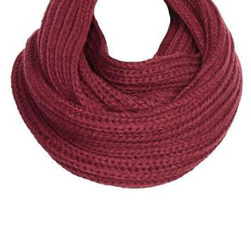 Burgundy Cable Knit Infinity Scarf