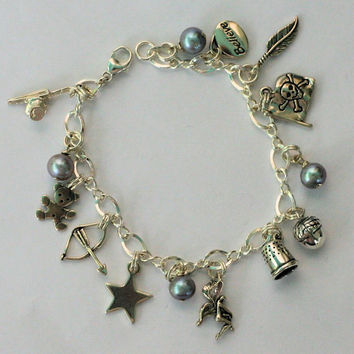 Peter Pan And Wendy Acorn and Thimble  Kisses and Lost Boys Charm Bracelet in Solid Sterling Silver - Second Star Right