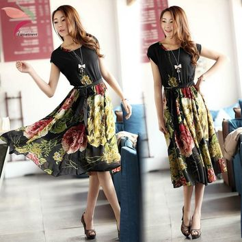 Fashion Women bohemian dress Chiffon dresses vestidos Elegant Ladies Floral Print Beach Sexy vintage National Mid-Calf