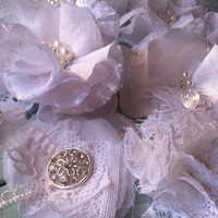 Gorgeous White Linen and Lace Fabric Flower Embellishments - Vintage Style