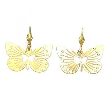 Gold Layered 5.094.007 Dangle Earring, Butterfly Design, Diamond Cutting Finish, Golden Tone