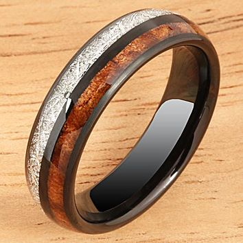 Koa Wood and Meteorite Pattern Black Tungsten Wedding Ring 6mm Barrel Shape
