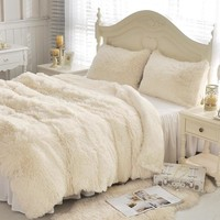 PanlongHome Mink Velvet Lambskin Plush Autumn and Winter Bedding Thickened Warm Bed Skirt Pillowcase Quilt Cover Bed Linings