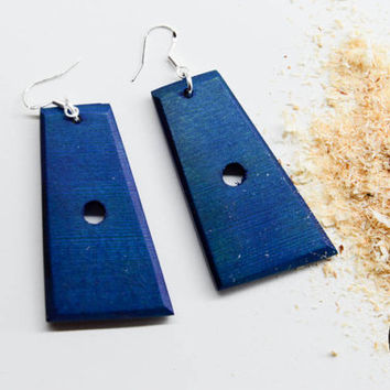 Blue Wood Earrings, Blue Dangle Earrings, Blue Drop Earrings, Drom Earrings, Minimalistic, Handmade Earrings, Summer Earrings, Ooak Earrings