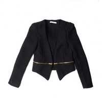 insane jungle BLACK ZIP IT TWEED BLAZER TWEED JACKET - WOMEN'S