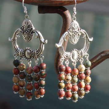 Picasso Jasper Stone Statement Earrings ~ Earth Tones ~ Bohemian Style ~ Red Green Brown and Yellow Stones ~ Large Earrings