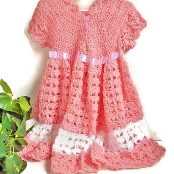 Girls Crochet Dress Baby Toddler Pink and White with Ribbon, Spring Summer Handmade Knitted Girl Dress 1-2 Year Old