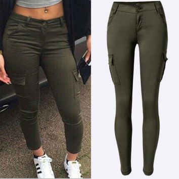 PEAPIH3 Women's low-waist Slim stretch pants feet army green outdoor leisure sports climbing pants