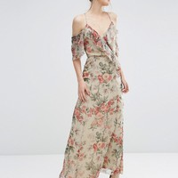 ASOS Ruffle Cold Shoulder Maxi Dress in Vintage Floral Print at asos.com