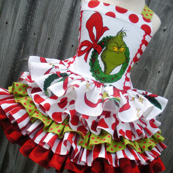 Custom Boutique Grinch Girl Dress 2 3 4 5 6 7 8 Made to Order Christmas