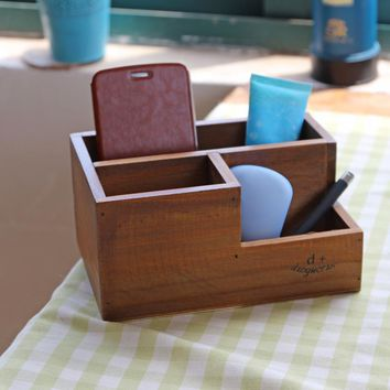 Wood Storage Box Phone Knife Pen Succulent Table Organizer Stand Desktop Storage Box Bins Wood Multifunction Organizer